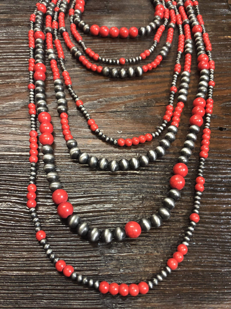 Accessorize In Style Fashion Necklaces Navajo Pearl 7 Strand Graduated Fashion Necklace - Silver/Red