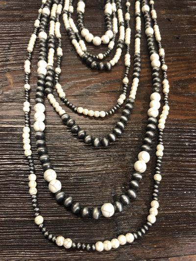 Accessorize In Style Fashion Necklaces Navajo Pearl 7 Strand Graduated Fashion Necklace - Silver/White