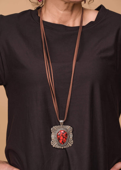 Accessorize In Style Fashion Necklaces Red Fashion Leather Strand Necklace With Aztec Stone Pendant