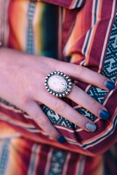 Accessorize In Style Fashion Rings Fashion Oval White Stone Ring