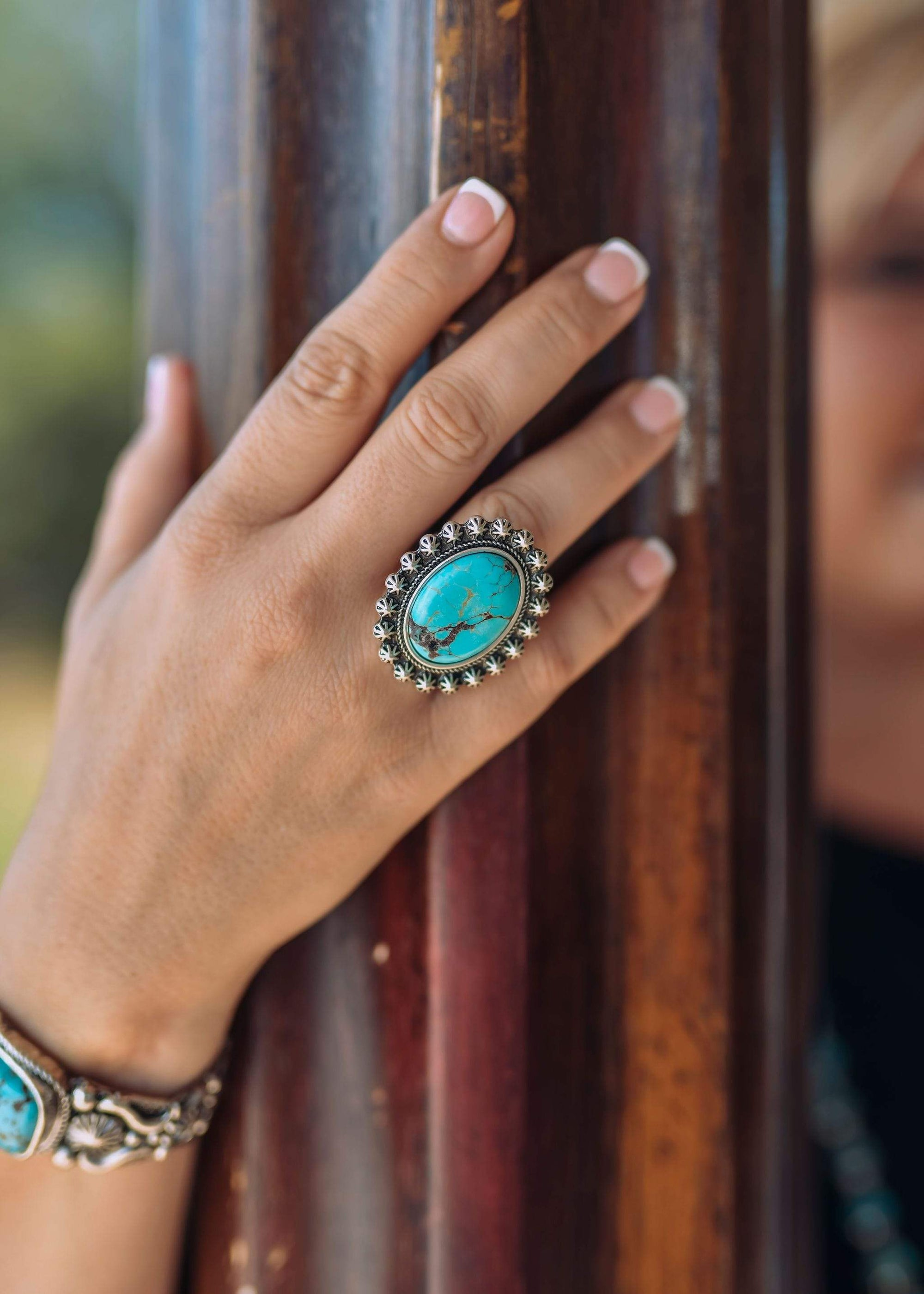 Fashion Silver Star Turquoise Ring