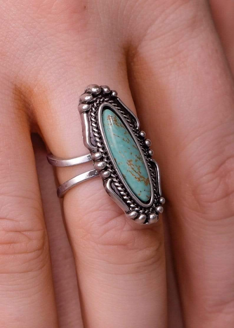 Fashion Turquoise Oval Adjustable Ring