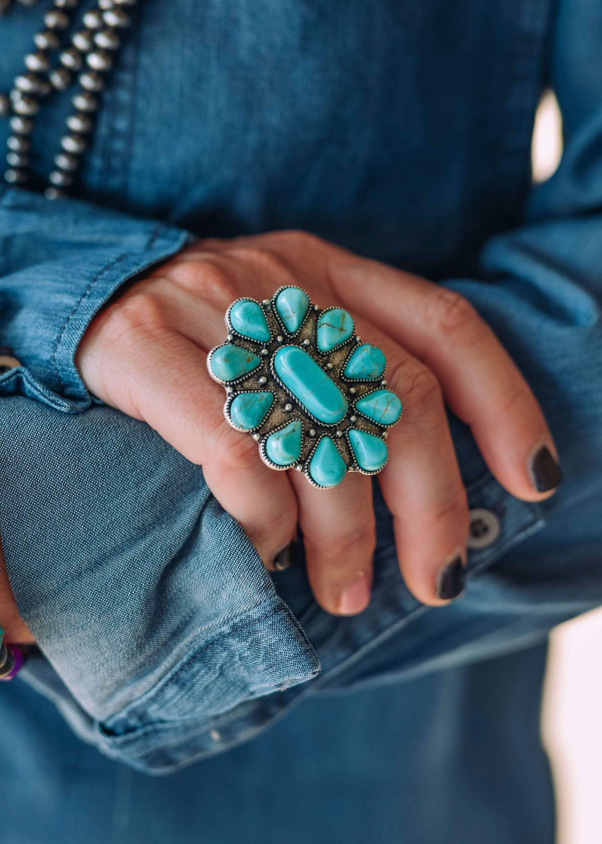 Fashion Turquoise Stone Cluster Ring
