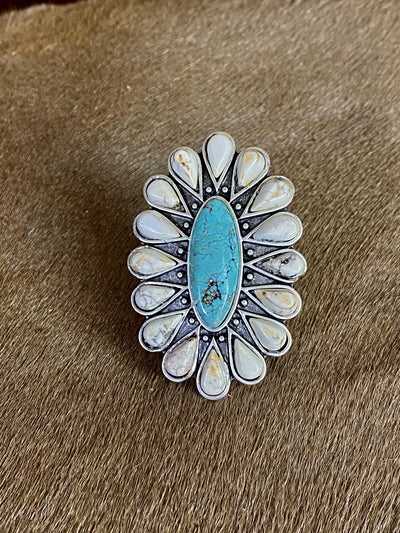 Accessorize In Style Fashion Rings Fashion White & Turquoise Cluster Ring