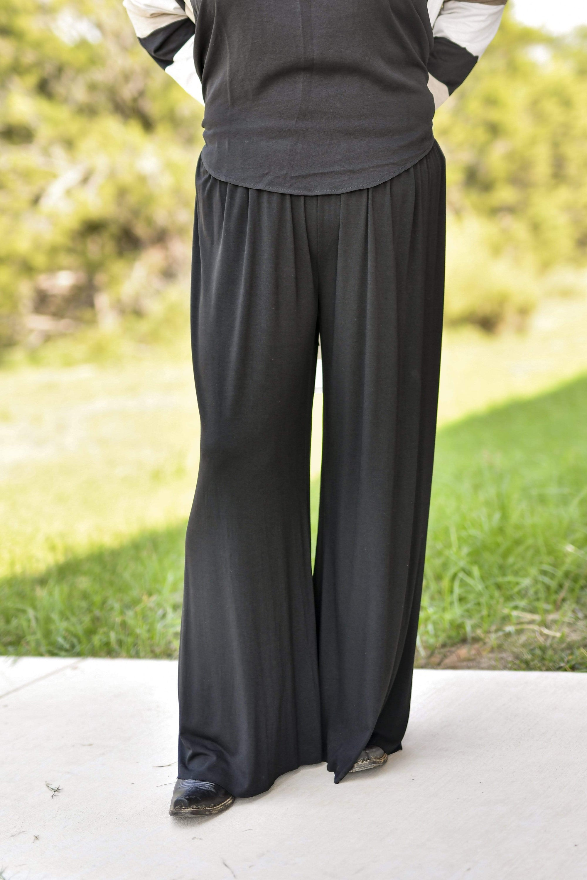 Accessorize In Style Full Length Elastic Waist Palazzo Pants - Black