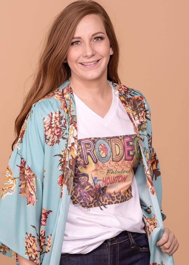Accessorize In Style Graphic Tees Rodeo Houston V-Neck T-shirt - White