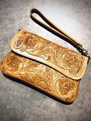 Accessorize In Style Handbags Tooled Leather Clutch / Crossbody - Yellow