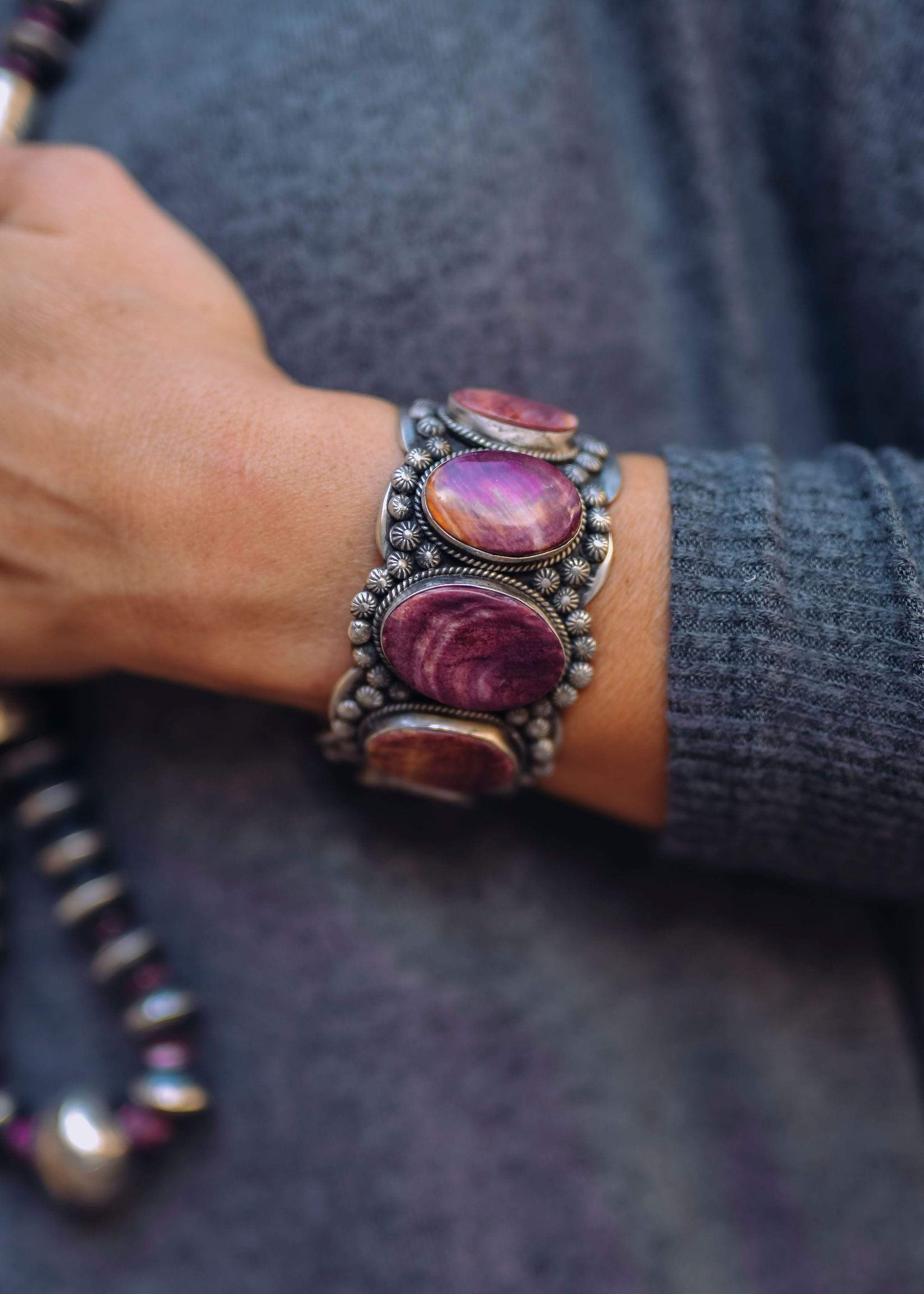 Accessorize In Style Petra Multi Stone Purple Spiny Sterling Cuff