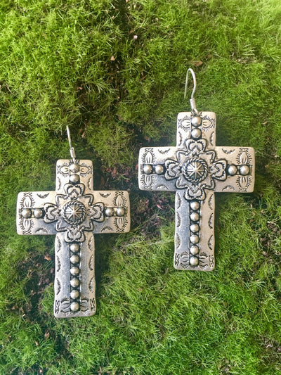 Accessorize In Style Silver Cross Earrings