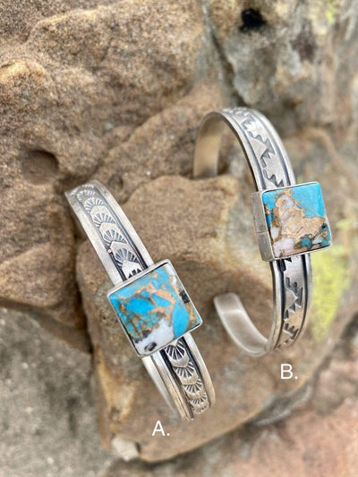 Accessorize In Style Sterling Bracelets A Charlie Square Sterling Cuff Turquoise White Buffalo Mix