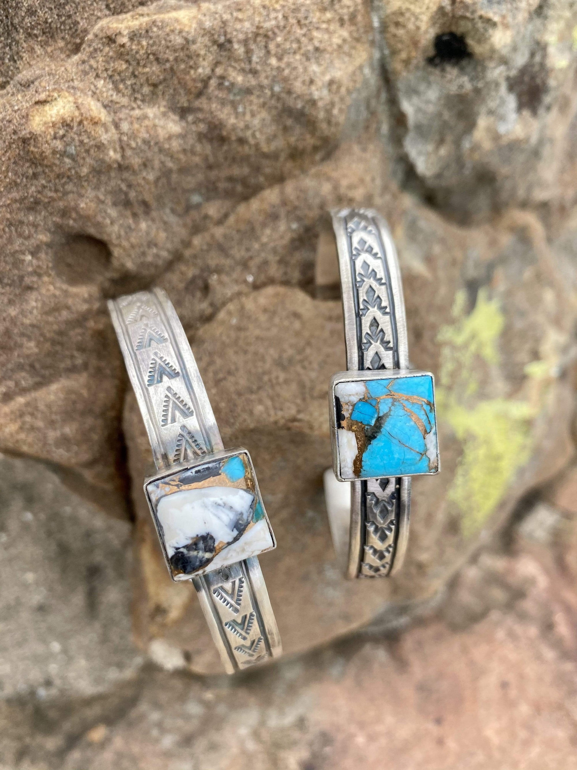 Accessorize In Style Sterling Bracelets Charlie Square Sterling Cuff Turquoise White Buffalo Mix