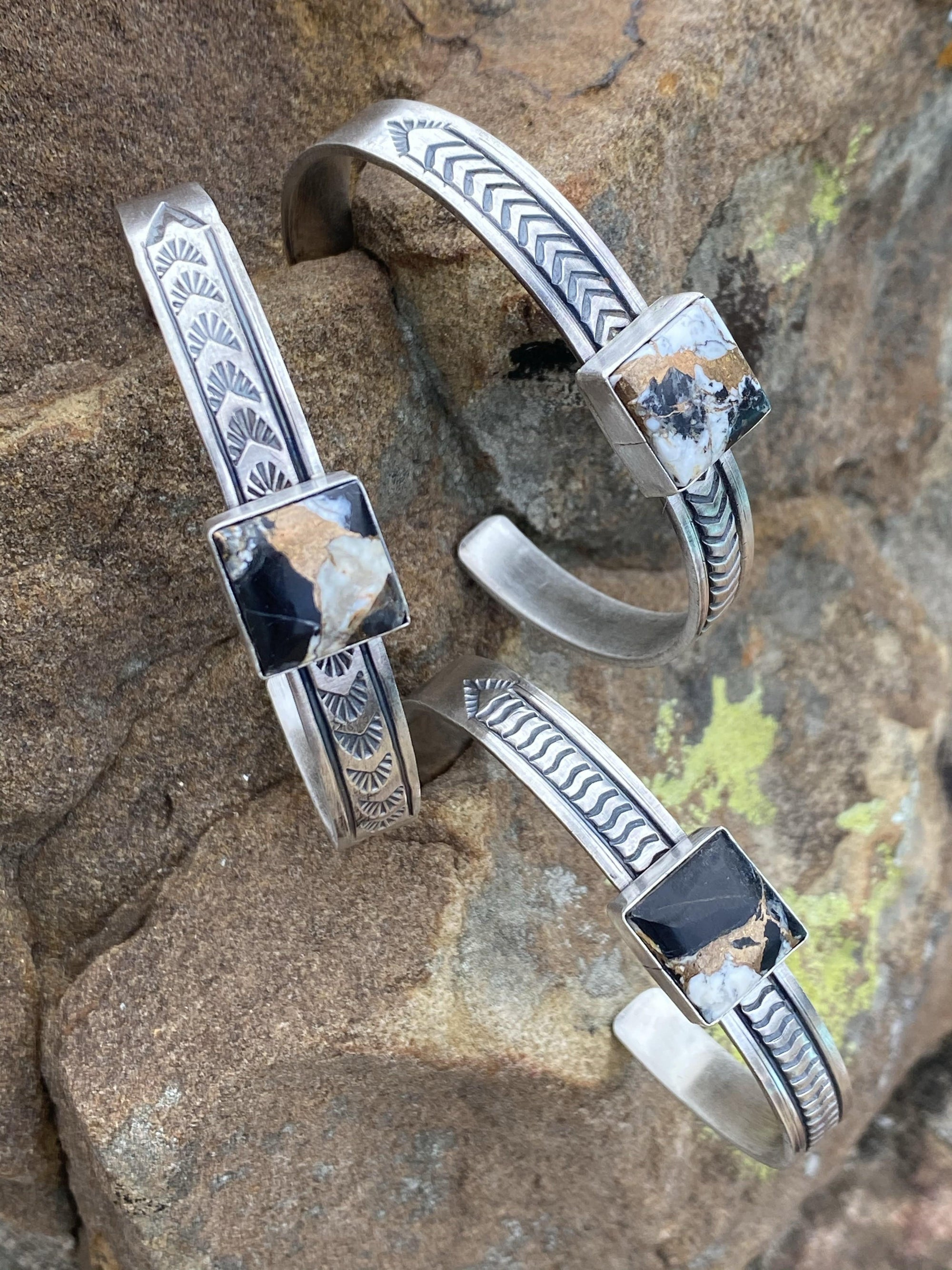 Accessorize In Style Sterling Bracelets Cora Square Sterling Cuff White Buffalo Mix