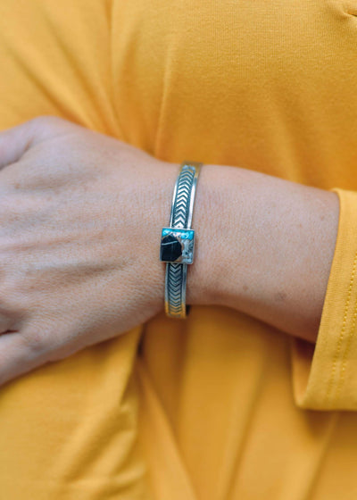 Accessorize In Style Sterling Bracelets E Charlie Square Sterling Cuff Turquoise White Buffalo Mix