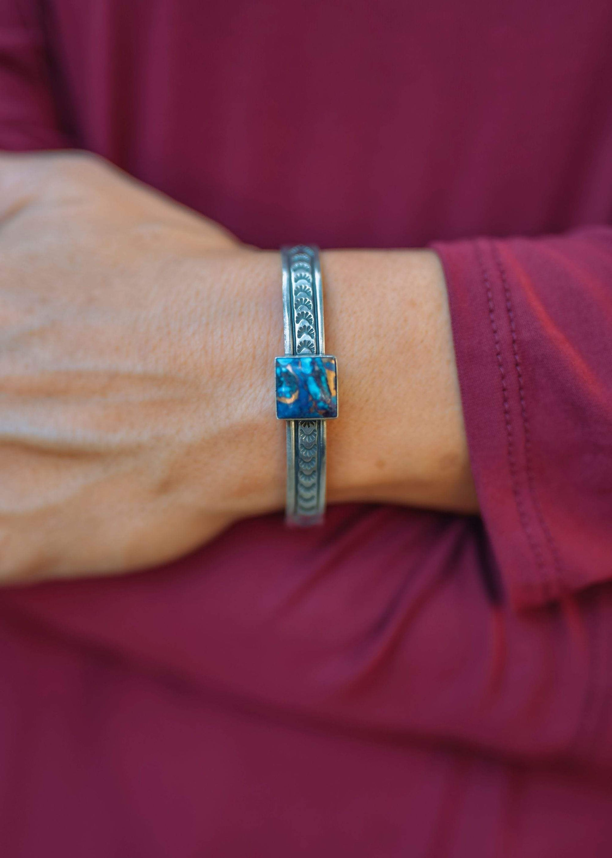 Accessorize In Style Sterling Bracelets Mojave Turquoise Sterling Cuff Bracelet