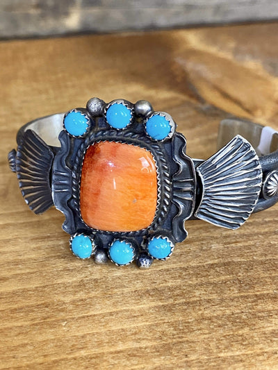 Accessorize In Style Sterling Bracelets Orange Spiny Oyster And Turquoise Cuff