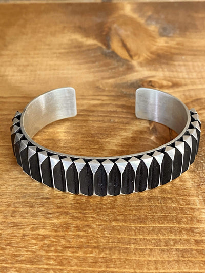 Accessorize In Style Sterling Bracelets Ridge Sterling Silver Cuff - Large