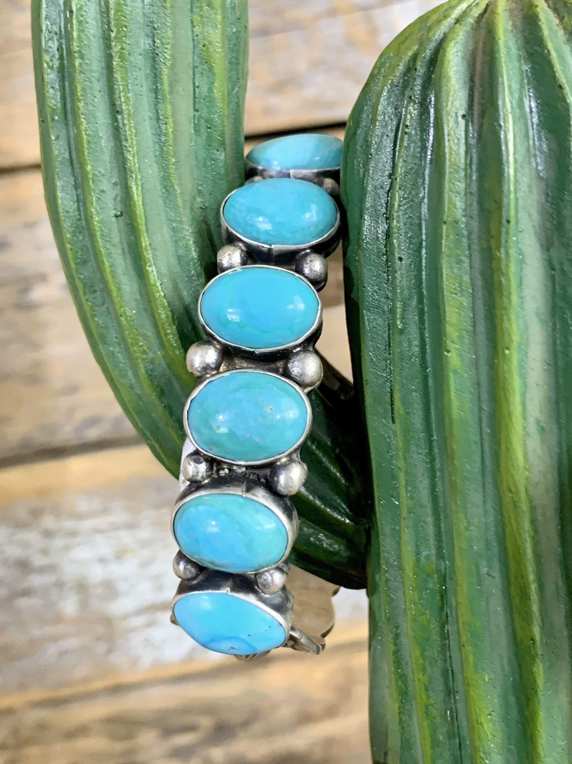 Accessorize In Style Sterling Bracelets Six Stone Turquoise & Sterling Cuff Bracelet