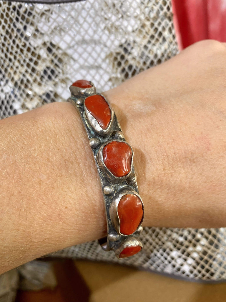 Accessorize In Style Sterling Bracelets Sterling Cuff With Multi Shaped Coral