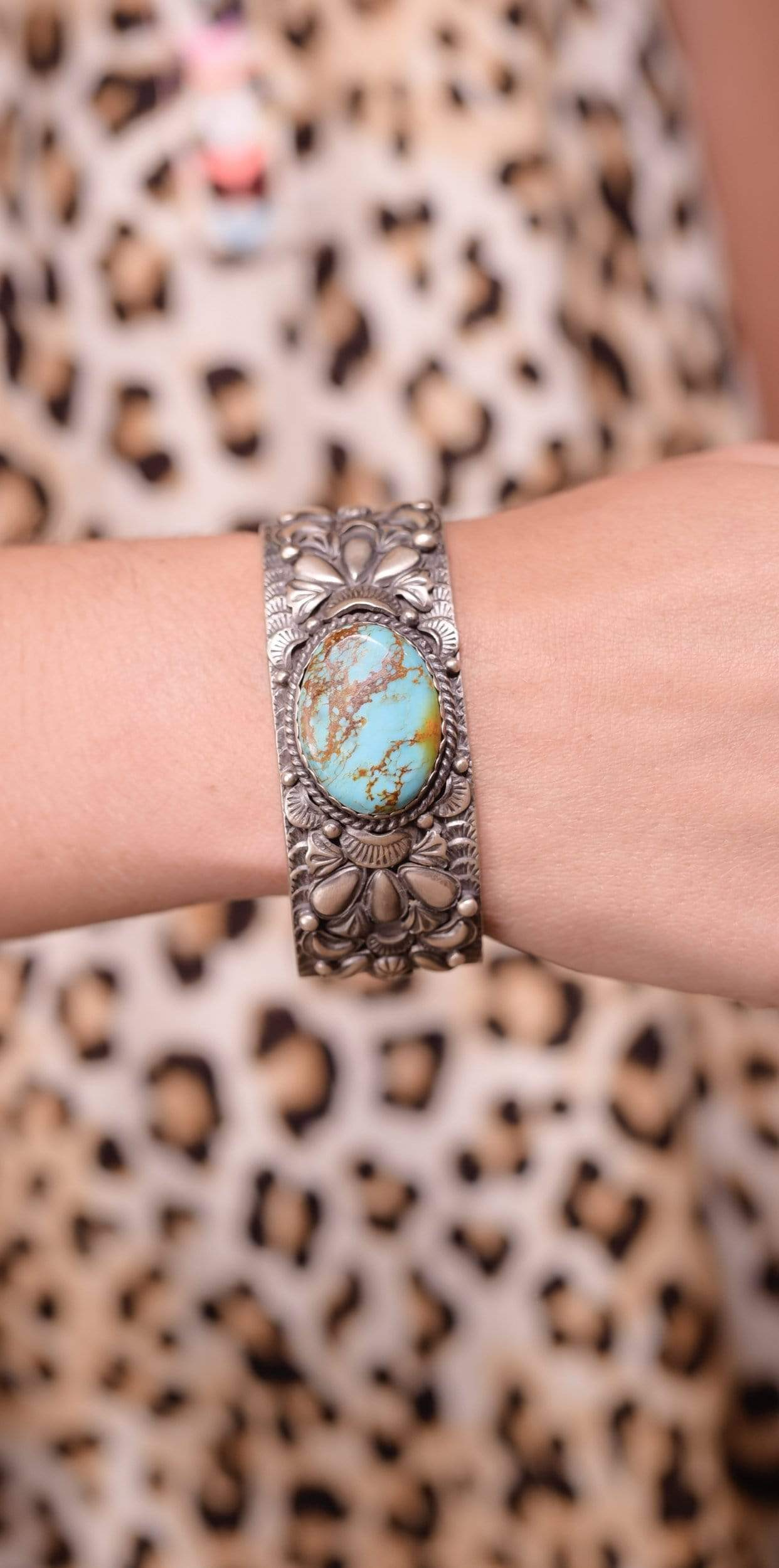 Accessorize In Style Sterling Bracelets Sterling Kingman Turquoise Ornate Cuff