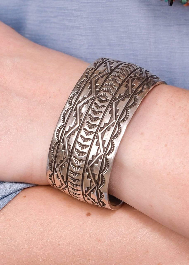 Accessorize In Style Sterling Bracelets Sterling Stamped and Etched Aztec Wide Cuff