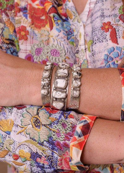 Accessorize In Style Sterling Bracelets Sterling White Buffalo Free Form Stone Cuff - Small And Large