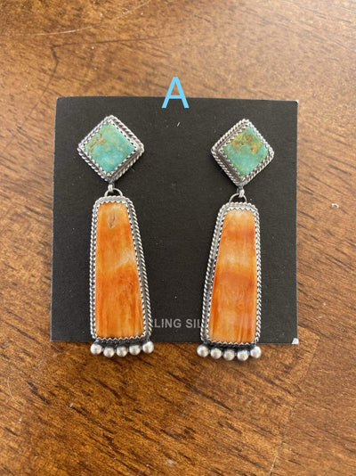 Accessorize In Style Sterling Earrings A Kingman and Orange Spiny Oyster Post Drop Earrings