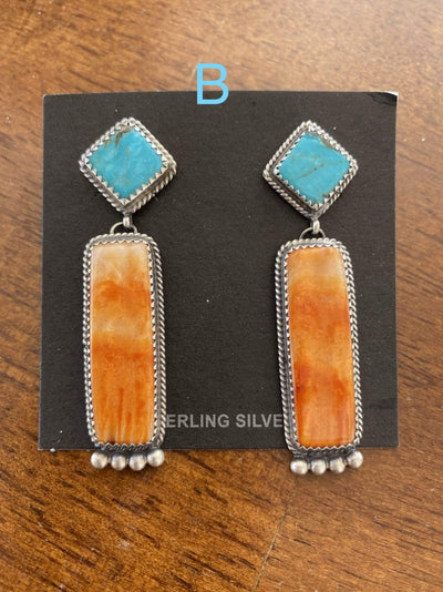 Accessorize In Style Sterling Earrings B Kingman and Orange Spiny Oyster Post Drop Earrings