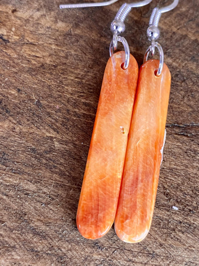 Accessorize In Style Sterling Earrings C Courtney Orange Spiny Dangle Earrings