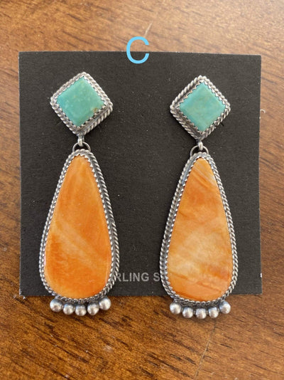 Accessorize In Style Sterling Earrings C Kingman and Orange Spiny Oyster Post Drop Earrings