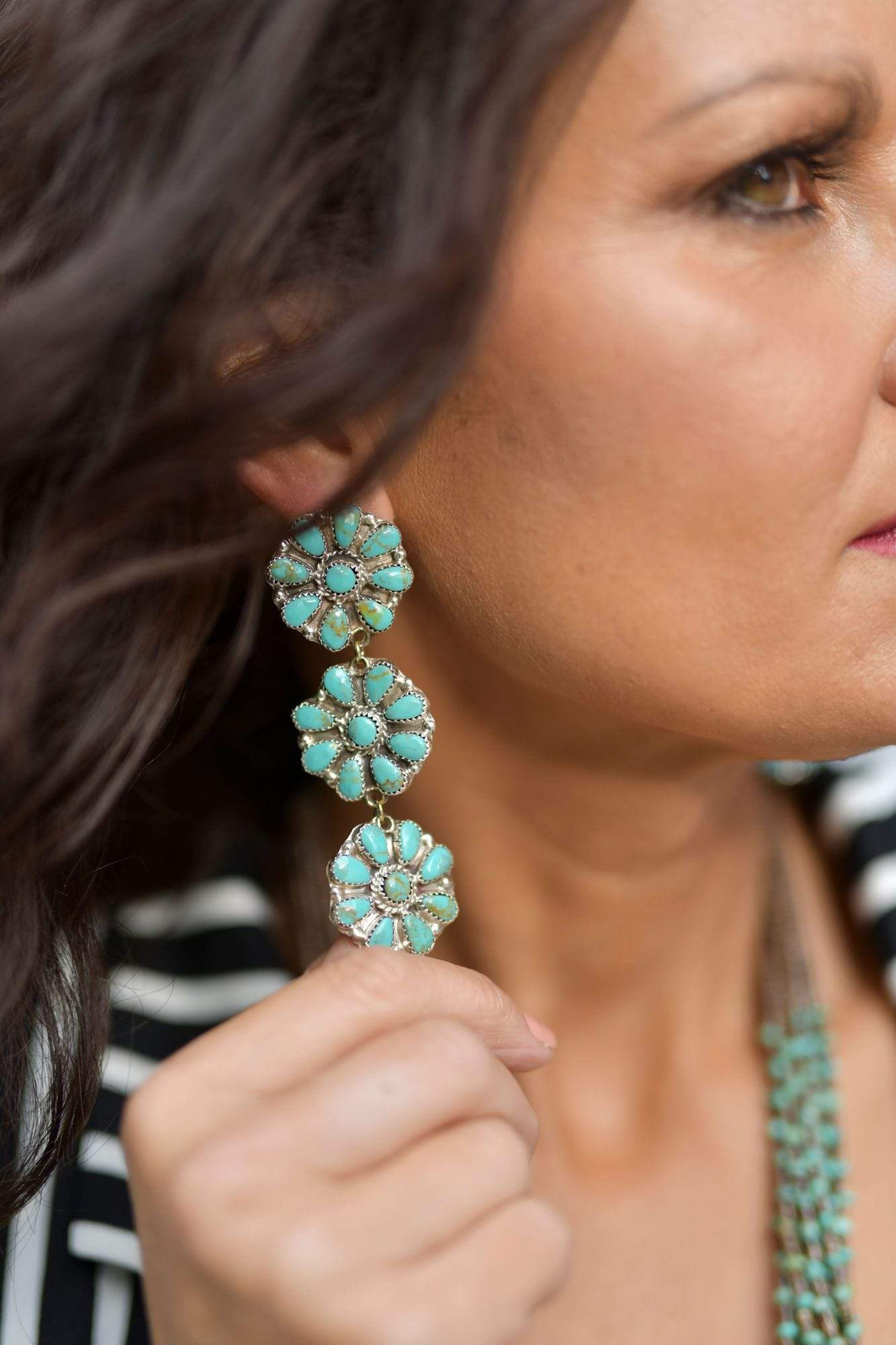 Caesar 3 Tier Cluster Turquoise Earrings