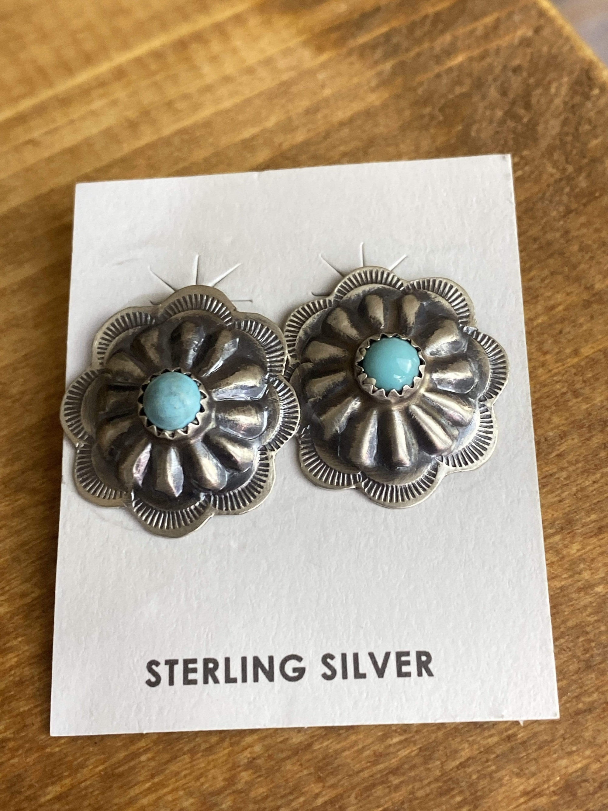 Accessorize In Style Sterling Earrings Concho Earrings with Turquoise Stone