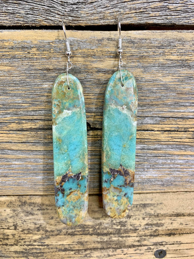 Accessorize In Style Sterling Earrings Handcrafted Turquoise Slab Earrings - Rounded Edges