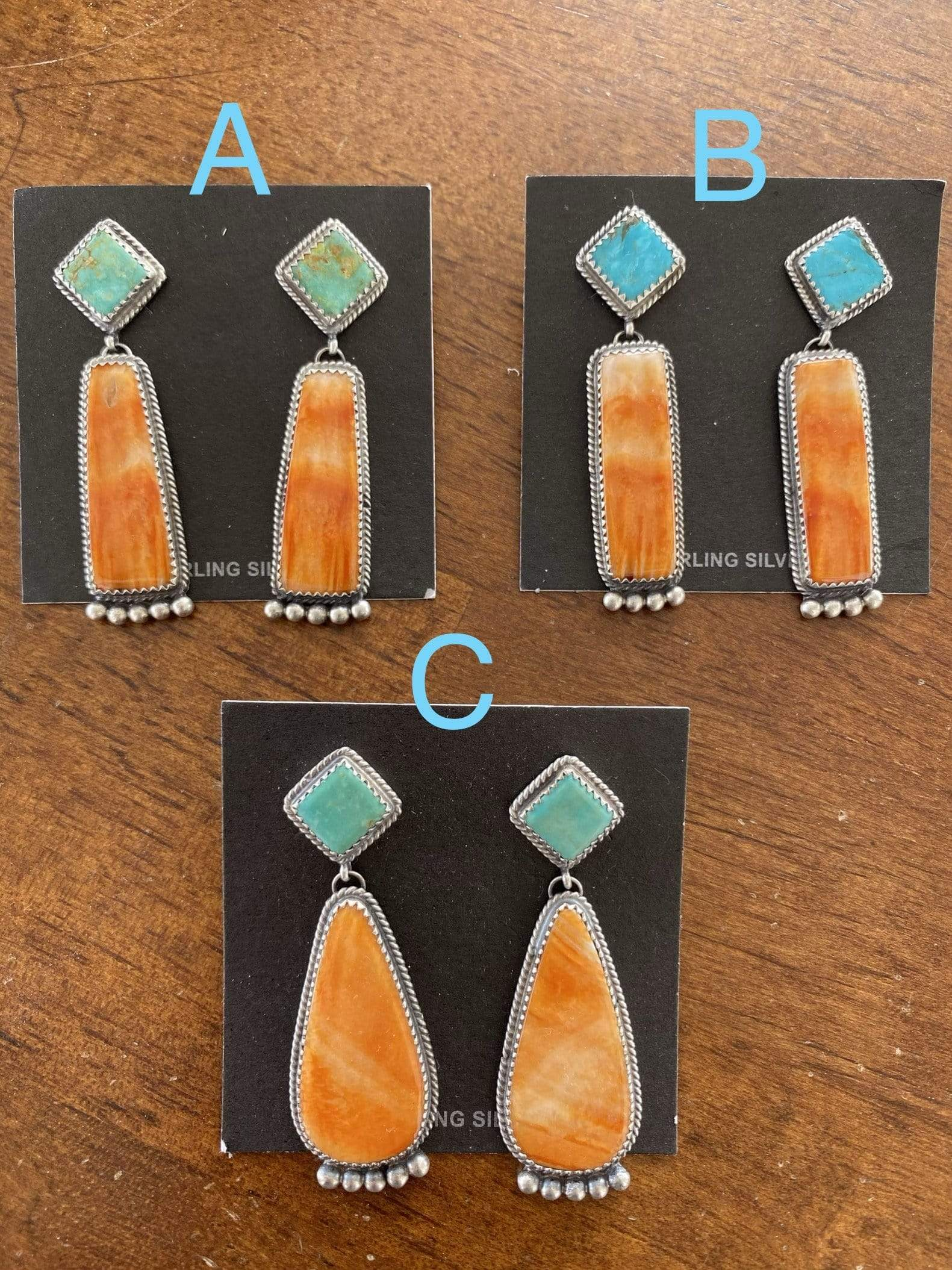 Accessorize In Style Sterling Earrings Kingman and Orange Spiny Oyster Post Drop Earrings
