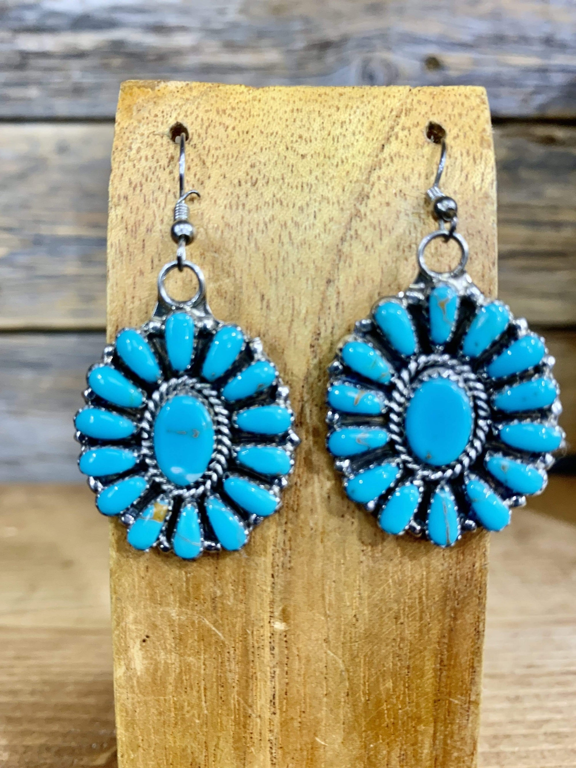 Accessorize In Style Sterling Earrings Oval Turquoise & Sterling Cluster Earrings
