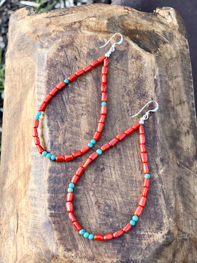 Accessorize In Style Sterling Earrings Sophie Turquoise & Red Beaded Teardrop Earrings