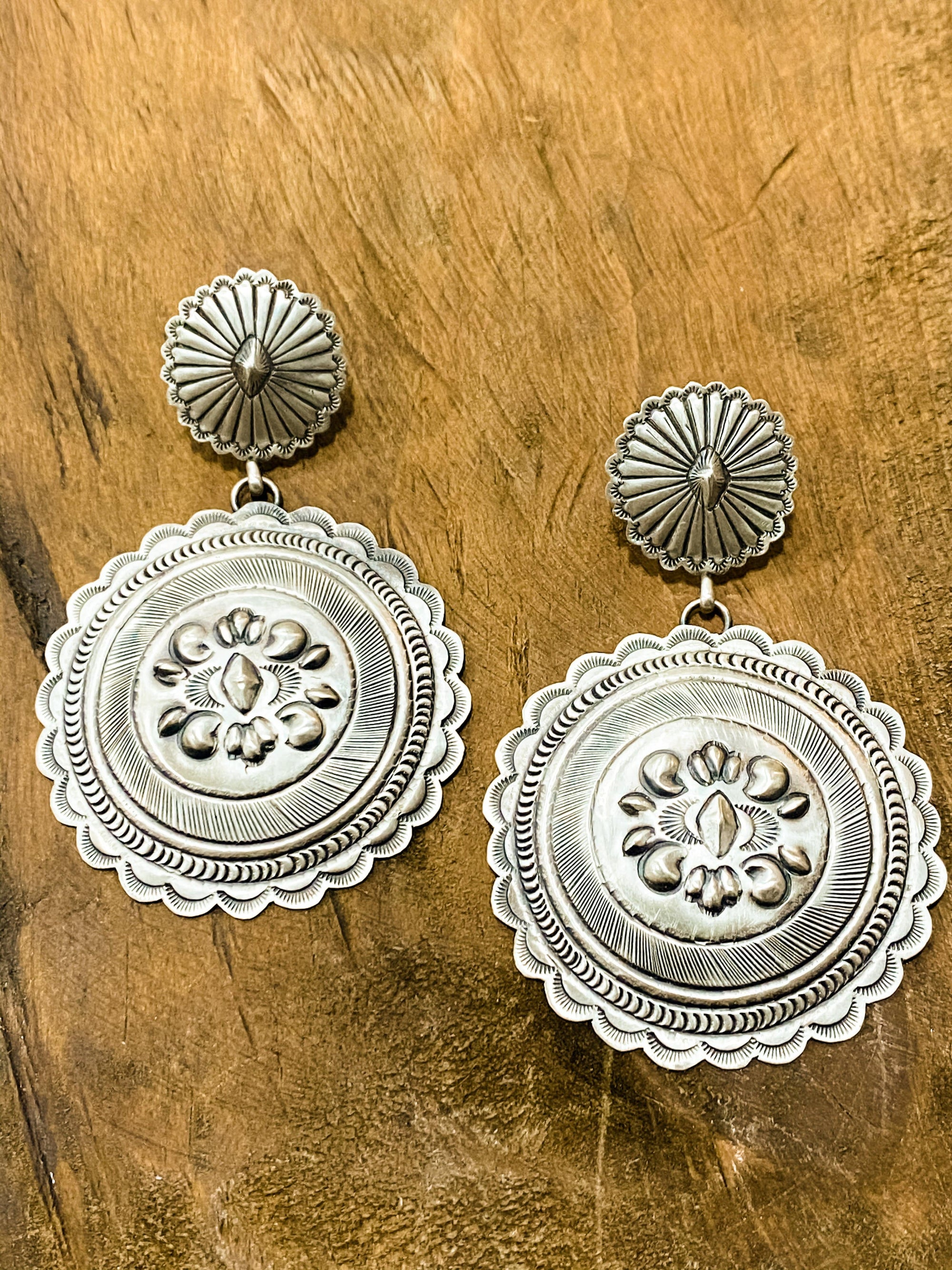 Sterling Concho Post Earrings