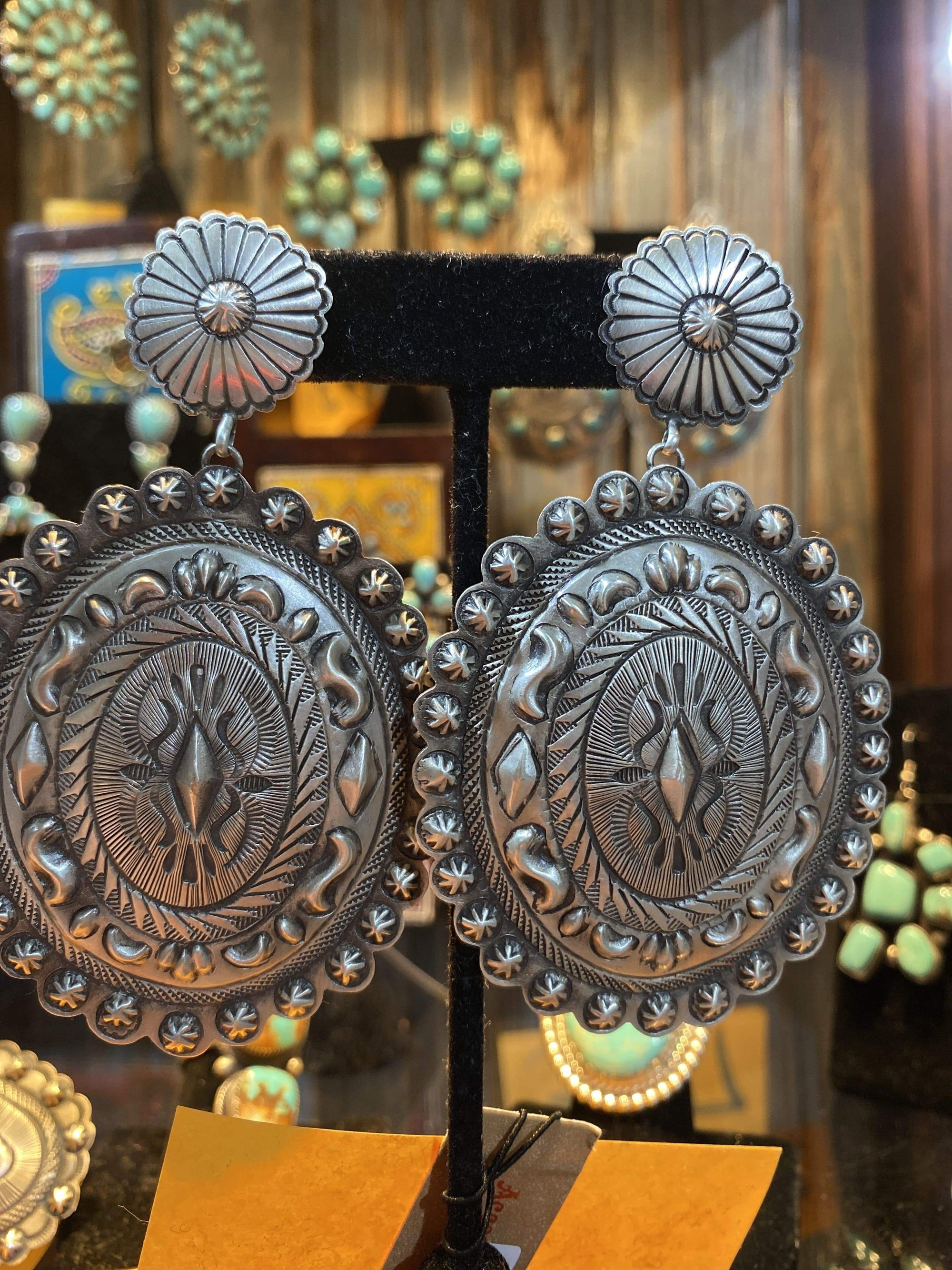 Accessorize In Style Sterling Earrings Sterling Concho Stamped Post Earrings