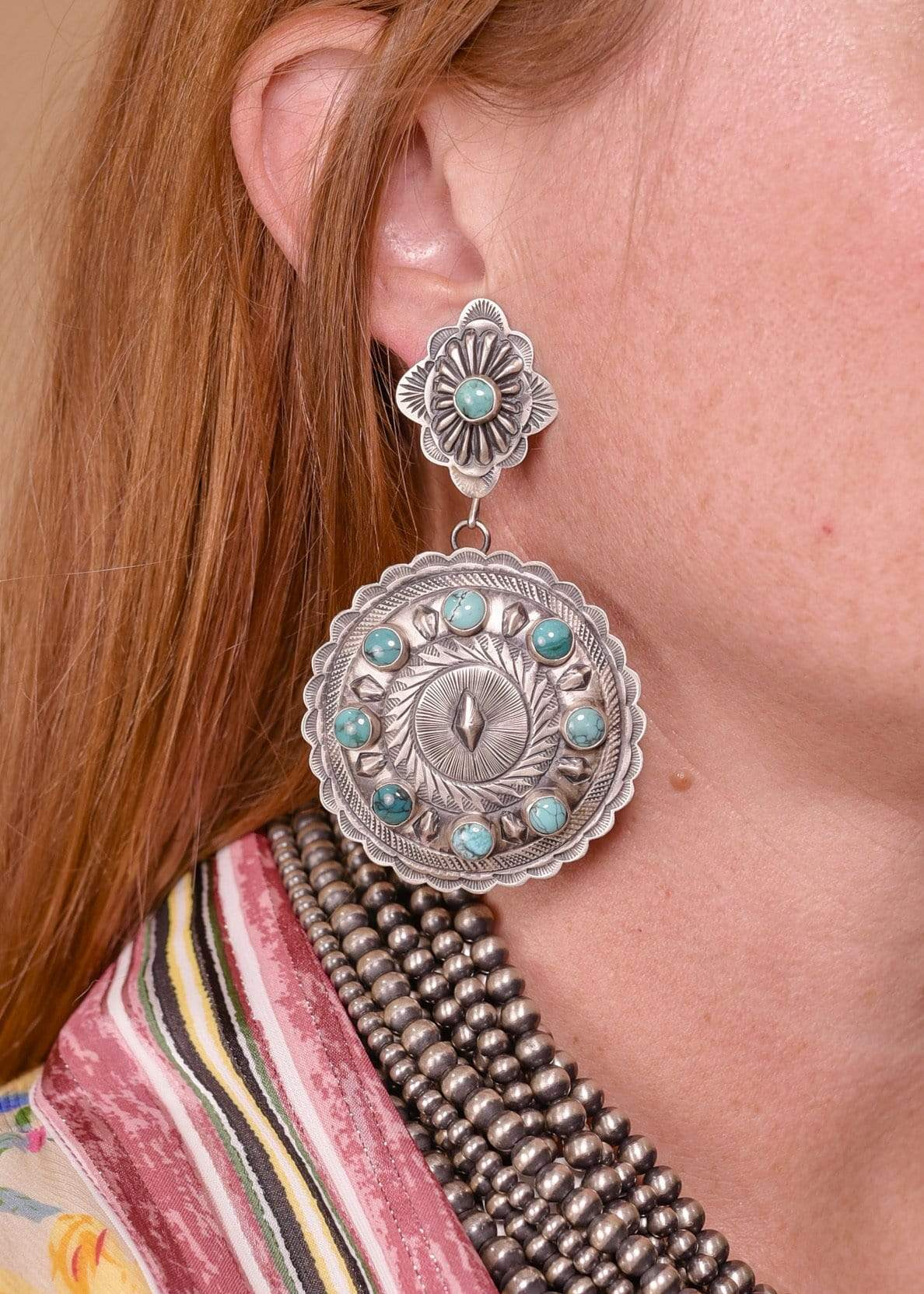 Accessorize In Style Sterling Earrings Sterling Double Concho Earrings with Turquoise