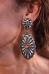 Accessorize In Style Sterling Earrings Sterling Silver Concho Earrings with Spiny Oyster