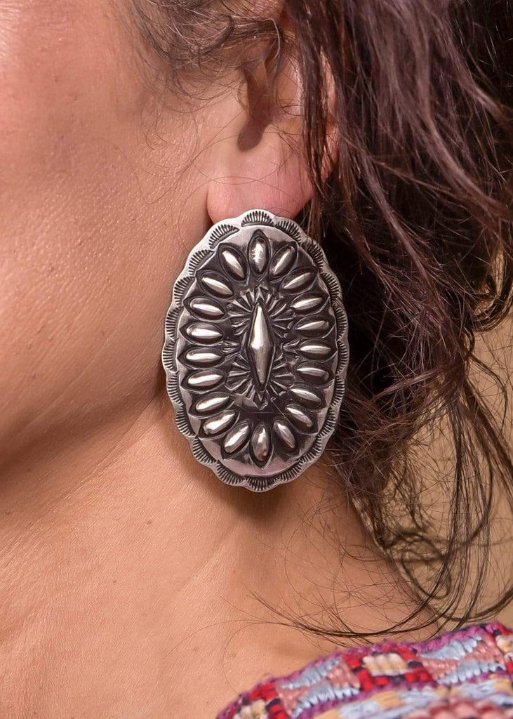 Accessorize In Style Sterling Earrings Sterling Silver Oval Concho Post Earrings