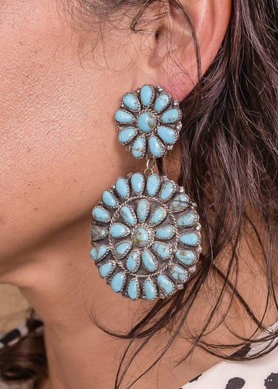Accessorize In Style Sterling Earrings Sterling Silver Zuni Double Cluster Earrings - Blue