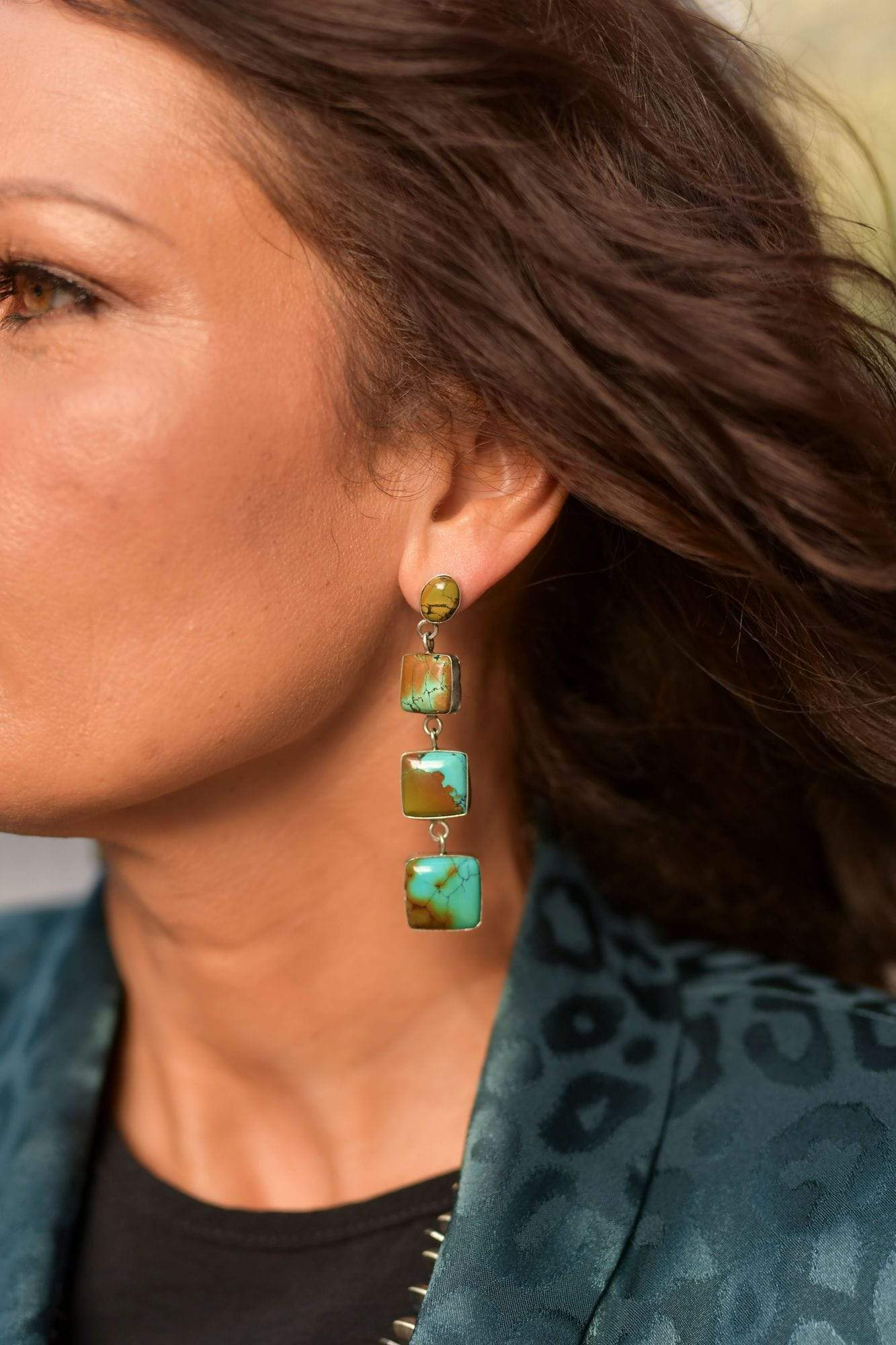 Accessorize In Style Sterling Earrings Sterling Square Tier Turquoise Earrings