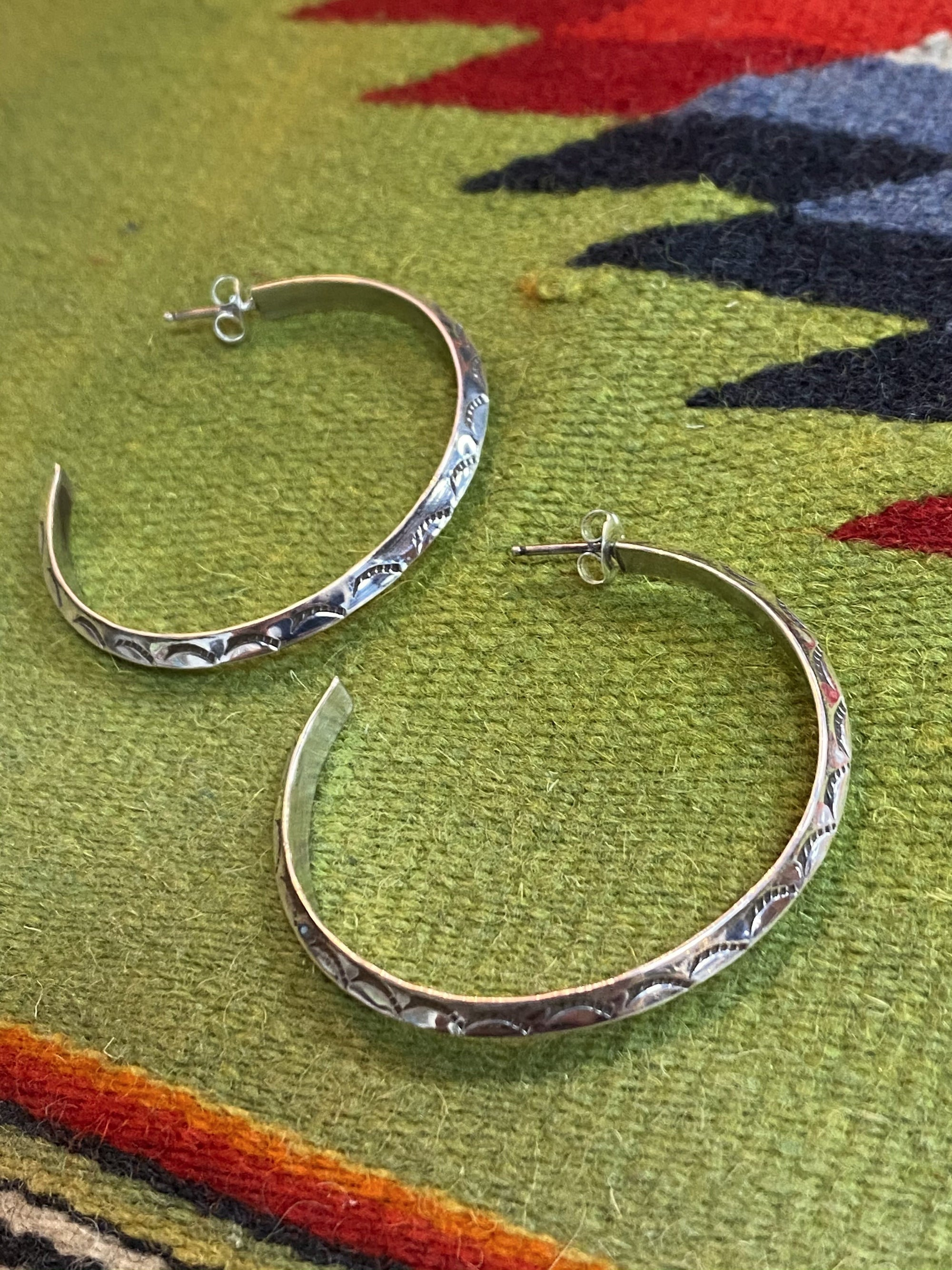 Sterling Stamped Hoop Earrings