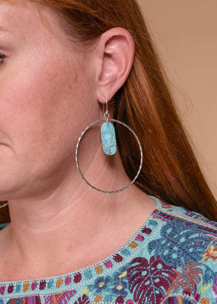 Accessorize In Style Sterling Earrings Sterling Twisted Wire Hook Earrings with Turquoise Slab