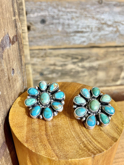 Accessorize In Style Sterling Earrings Stunning Turquoise Cluster Earrings