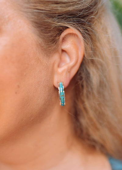 Accessorize In Style Sterling Earrings Turquoise Inlay Sterling Hoop Earrings Green