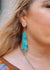 Turquoise Slab Earrings- Teardrop