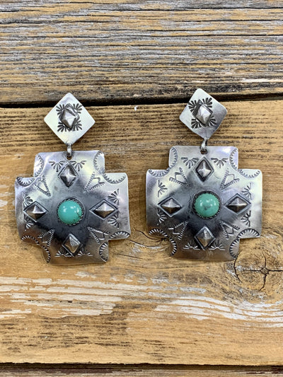 Accessorize In Style Sterling Earrings Ursala Sterling and Turquoise Cross Earrings