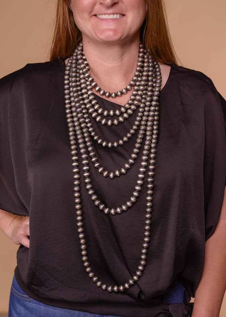 "Accessorize In Style Sterling Navajo Pearls 14mm Navajo Pearl Necklace 18""- 48"""