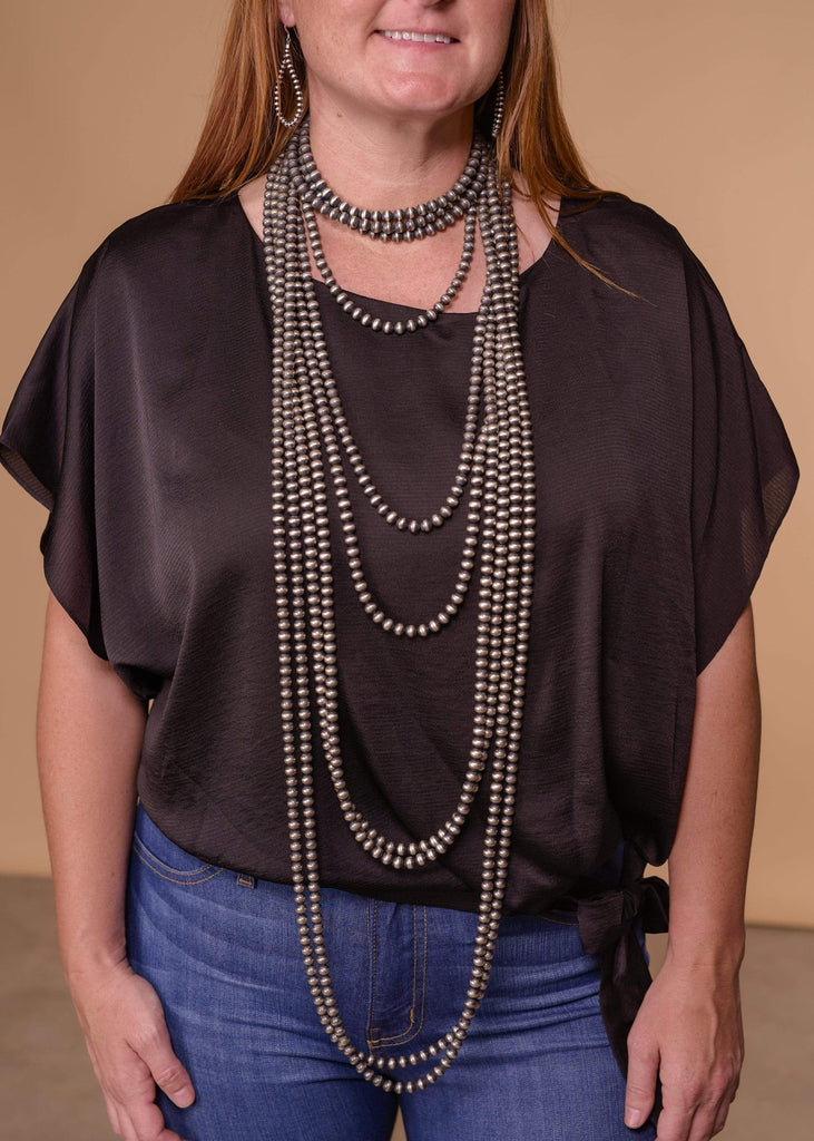 "Accessorize In Style Sterling Navajo Pearls 6mm Navajo Pearl Necklace - 14"" - 60"""
